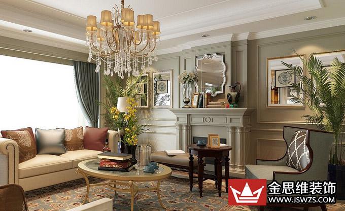 美式客厅设计,从颜色的搭配上来看比较偏向于复古