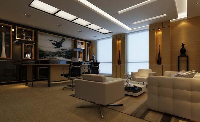 为什么选择立体化办公室 立体化办公室设计,黑、白、灰三个色调来装扮办公空间,三色不仅体现在地面、办公家具以及顶和墙面上,走廊过道的立体感设计特别强烈地面的造型也有棱角的立体感,墙面的油漆涂料使用黑色和白色的棱角来体现立体感以及建筑造型也是立体感造型。  立体化办公室的优势 立体化办公室设计,简单的办公空间没有过道的装饰,一面墙的落地窗光照十足,背景墙和办公桌部分使用了深海蓝色的的色彩给灰白色的空间增加生命力。
