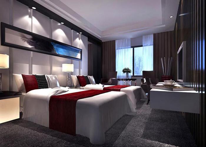 以酒店的logo为指引,延伸设计空间,设计包括酒店的家具,灯具,饰品